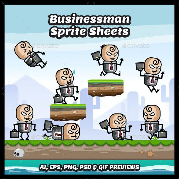 Evil Businessman Game Character Sprite Sheets