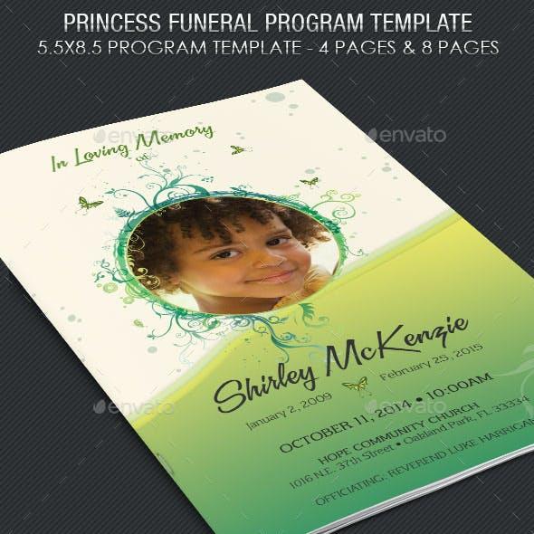Princess Funeral Program Template
