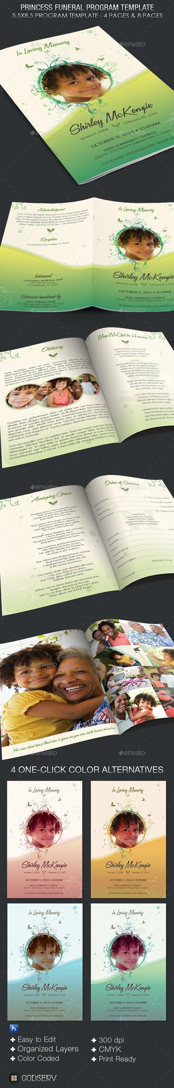 Princess Funeral Program Template - Informational Brochures