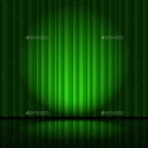 Stage with Green Curtain - Backgrounds Decorative