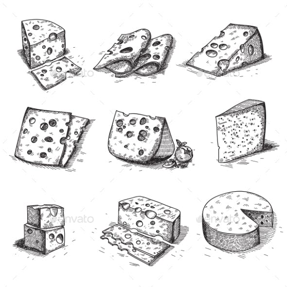 Hand Drawn Doodle Sketch Cheese With Different
