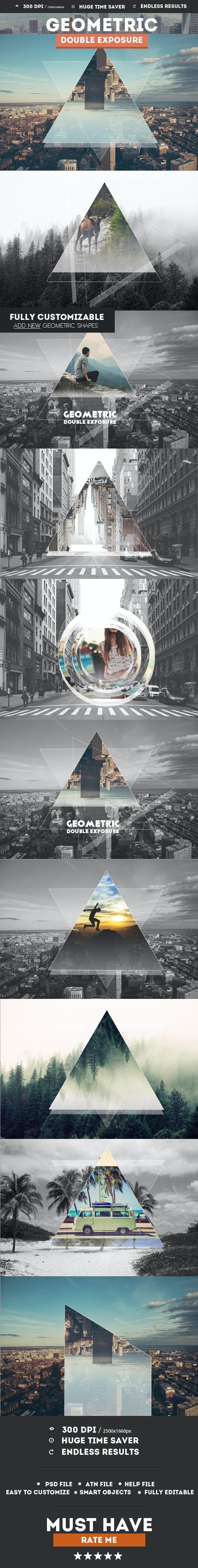 Geometric Double Exposure Photoshop Creator - Photo Effects Actions