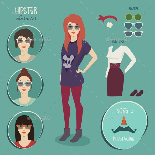 Hipster Girl Character with Hipster Elements - People Characters