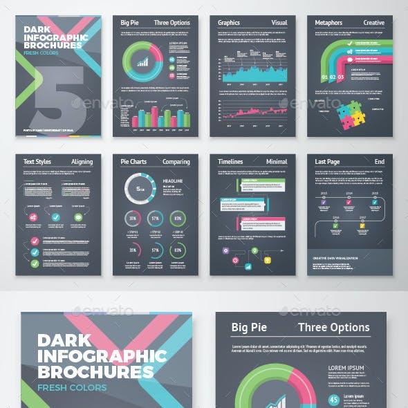 Dark Infographic Brochure Vector Elements Kit 5