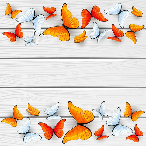 Red and White Butterflies on Wooden Background