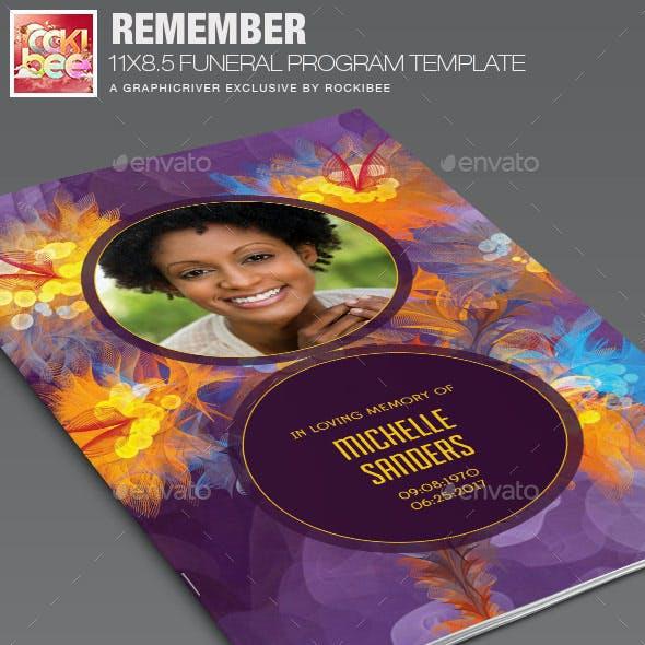 Remember Funeral Program Template