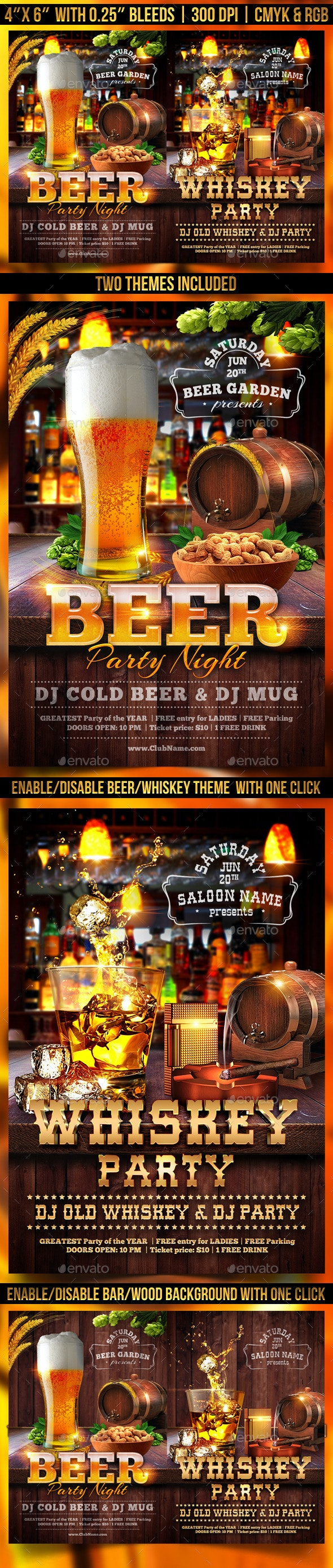 Beer and Whiskey Flyer Template - Clubs & Parties Events
