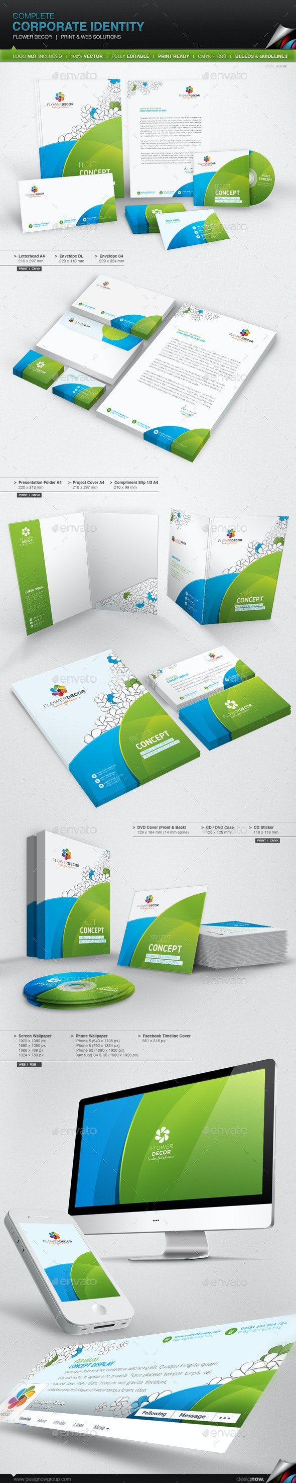 Corporate Identity - Flower Decor - Stationery Print Templates