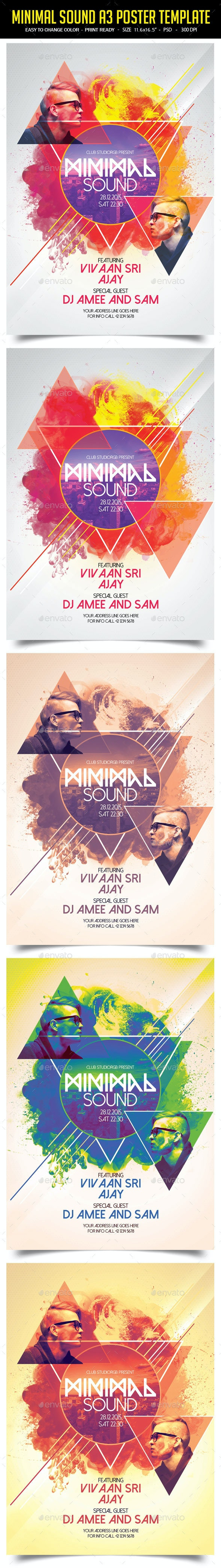 Minimal Sound A3 Poster Template - Clubs & Parties Events