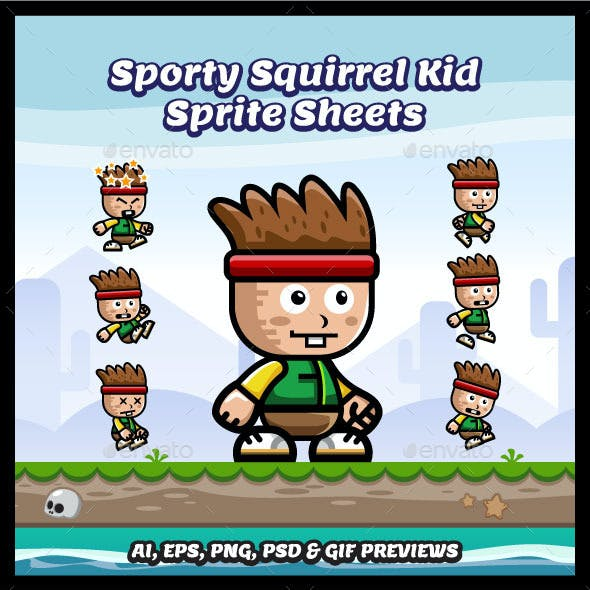 Squirrel Kid Game Character Spritesheets