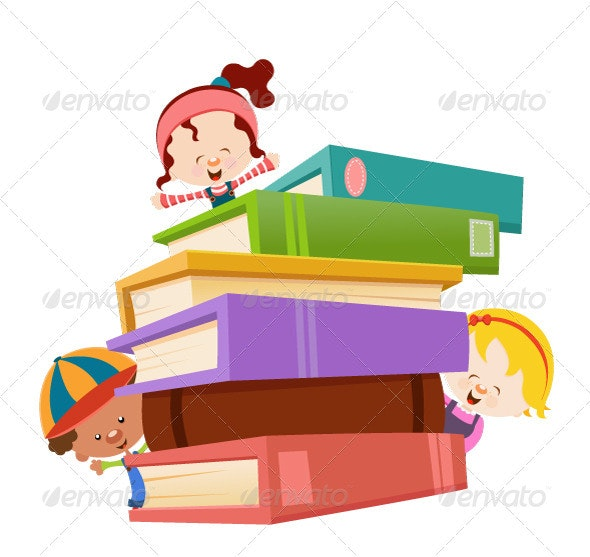 Kids With Books - Characters Vectors