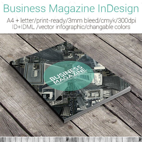 Business Magazine InDesign A4+Letter Template