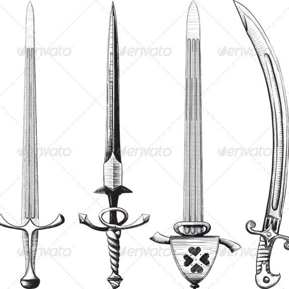 Different set of swords and sabers