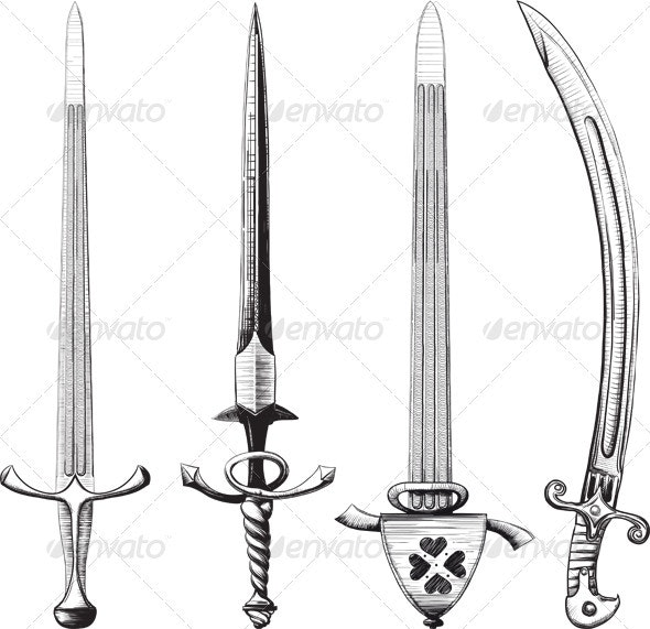 Different set of swords and sabers - Man-made Objects Objects