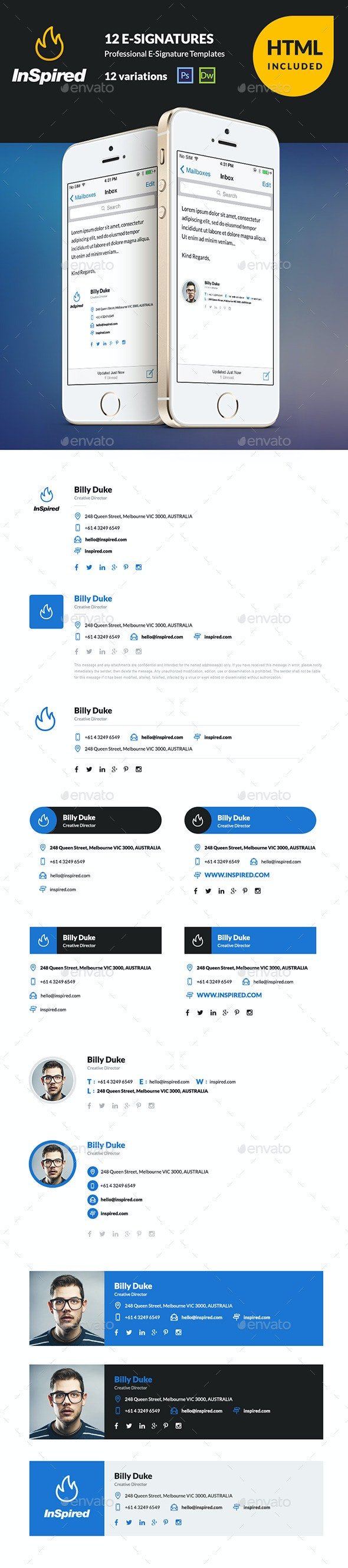 InSpired 12 HTML Professional E-Signatures - Miscellaneous Web Elements