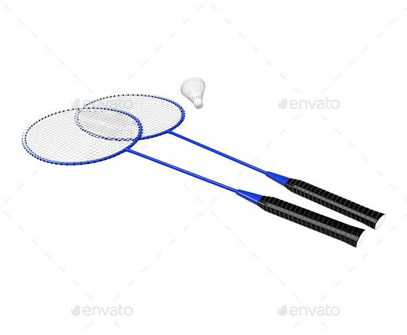 Rackets and Shuttlecock - Objects 3D Renders