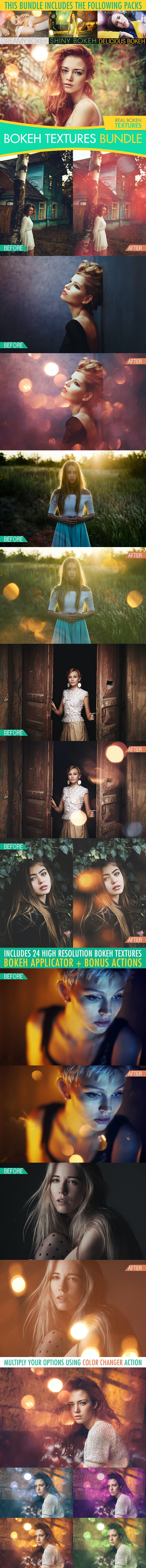 Bokeh Textures and Actions Bundle  - Photo Effects Actions