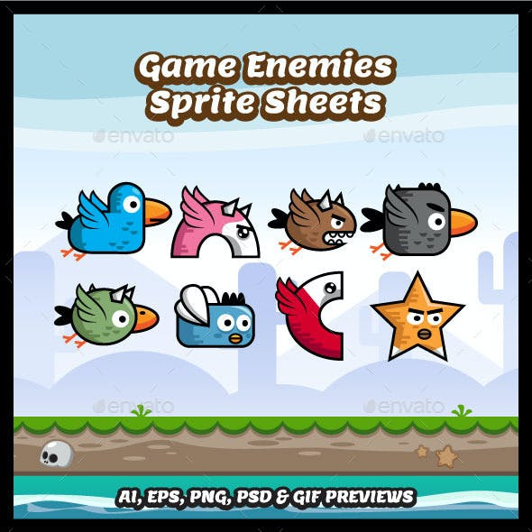 Eight Game Enemies Sprite Sheets
