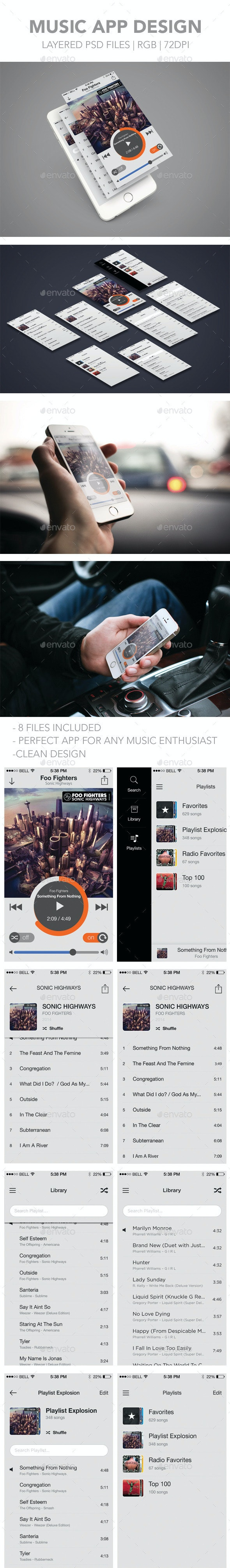 Mobile Music App Design - User Interfaces Web Elements