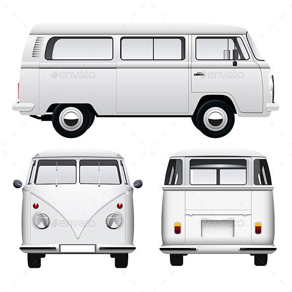 Retro White Camper