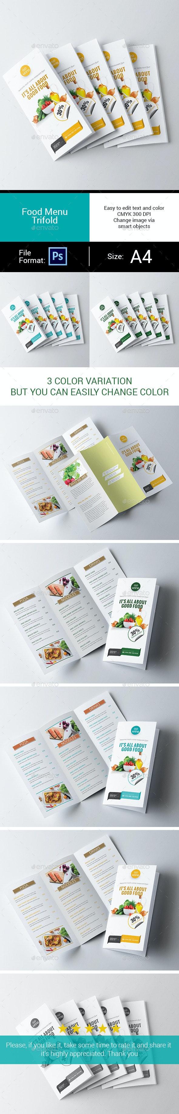 Food Menu Trifold - Food Menus Print Templates