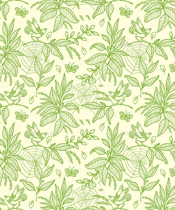 Green Seamless Pattern with Plants and Birds - Patterns Decorative