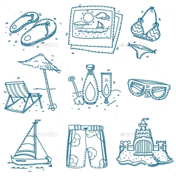 Hand Drawn Doodle Sketch Travel Summer Icons