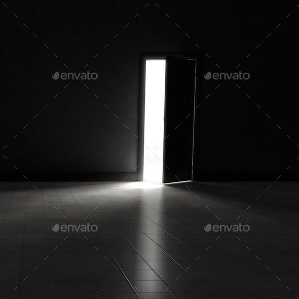 Open Door to Dark Room with Bright Light