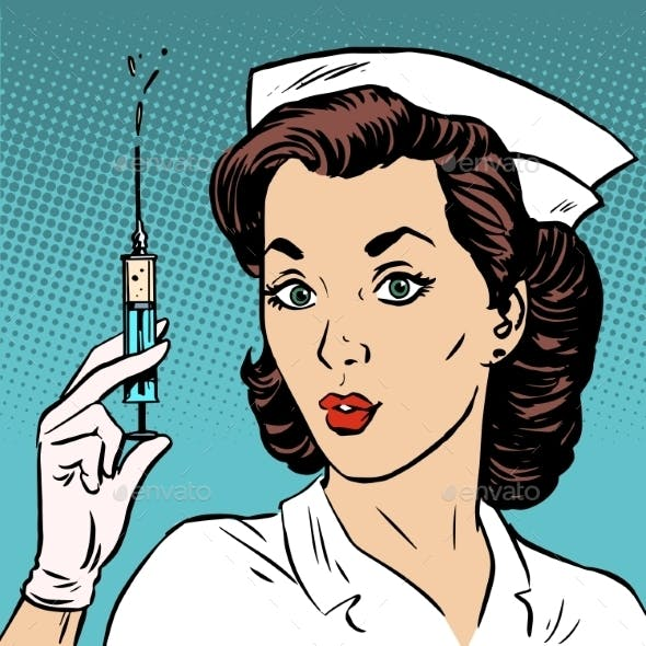 Retro Nurse Gives An Injection Syringe Medicine
