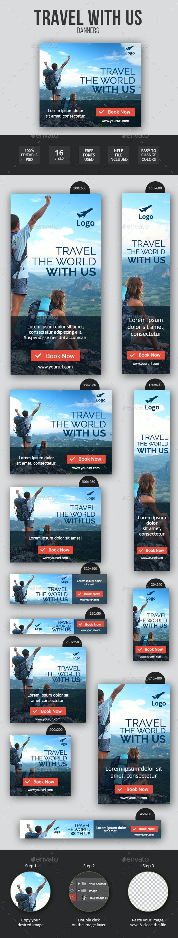 Flat & Minimal Travel Banners - Banners & Ads Web Elements
