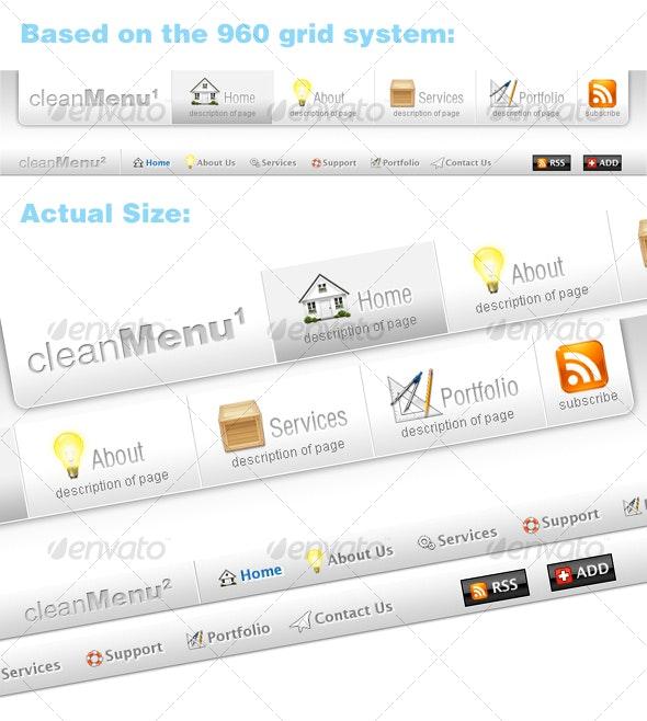 Clean Web Menus - Buttons Web Elements