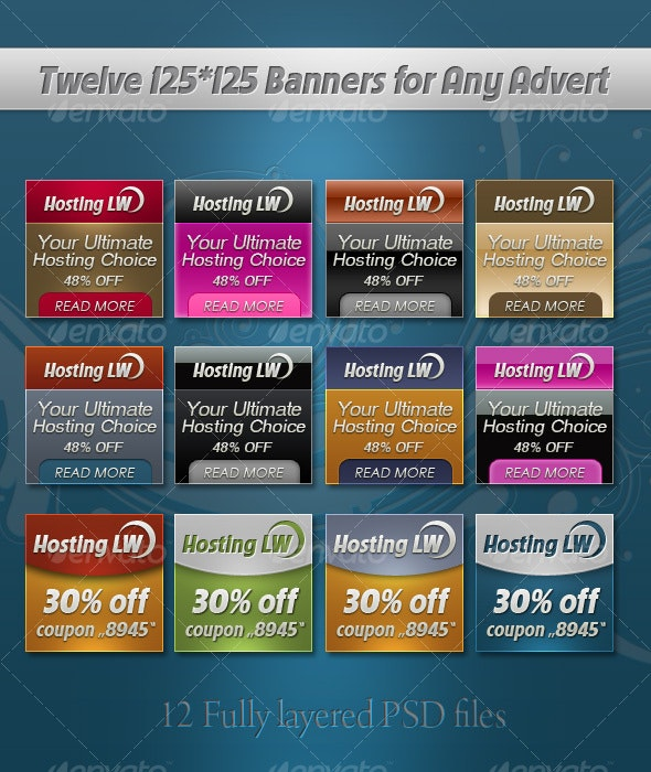 Twelve 125*125 Banner Templates - Web Elements