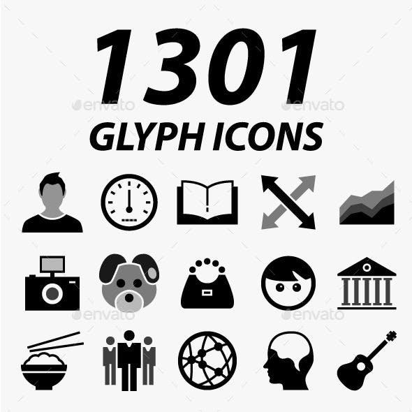 1301 Glyph Vector Icons