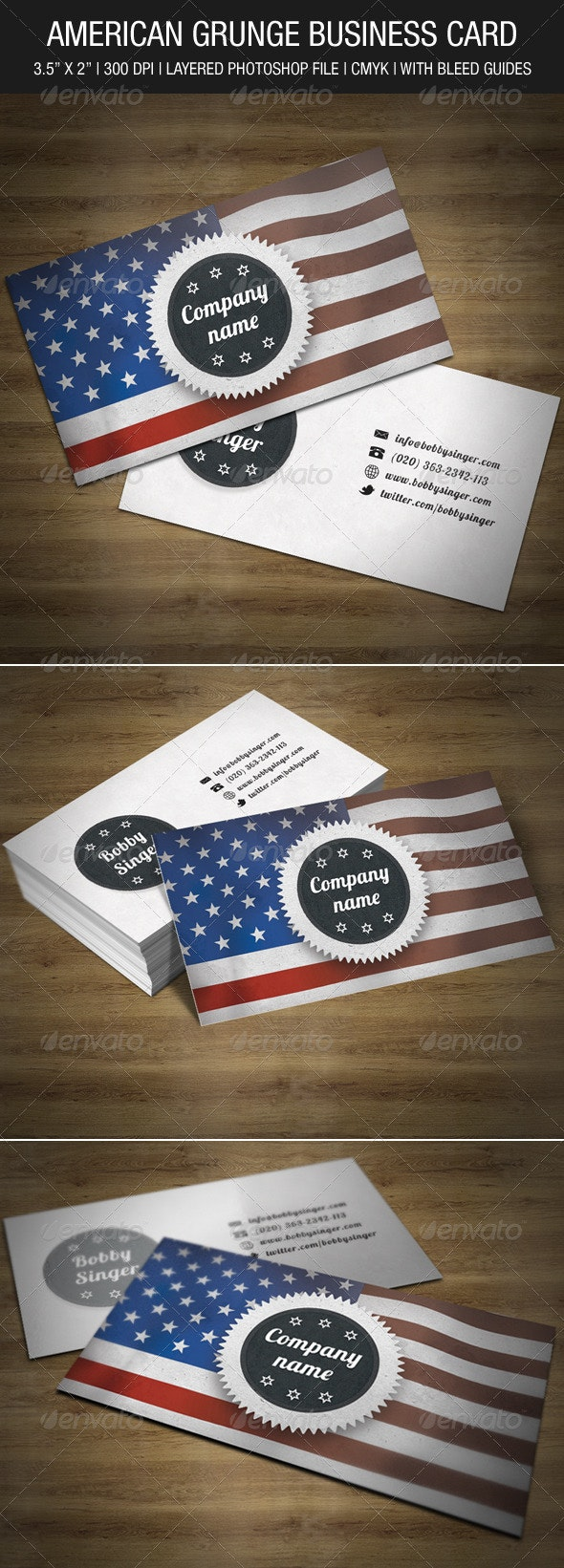 American Grunge Business Card - Creative Business Cards
