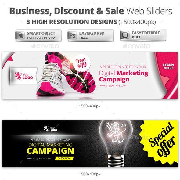 Business, Discount & Sale Web Sliders