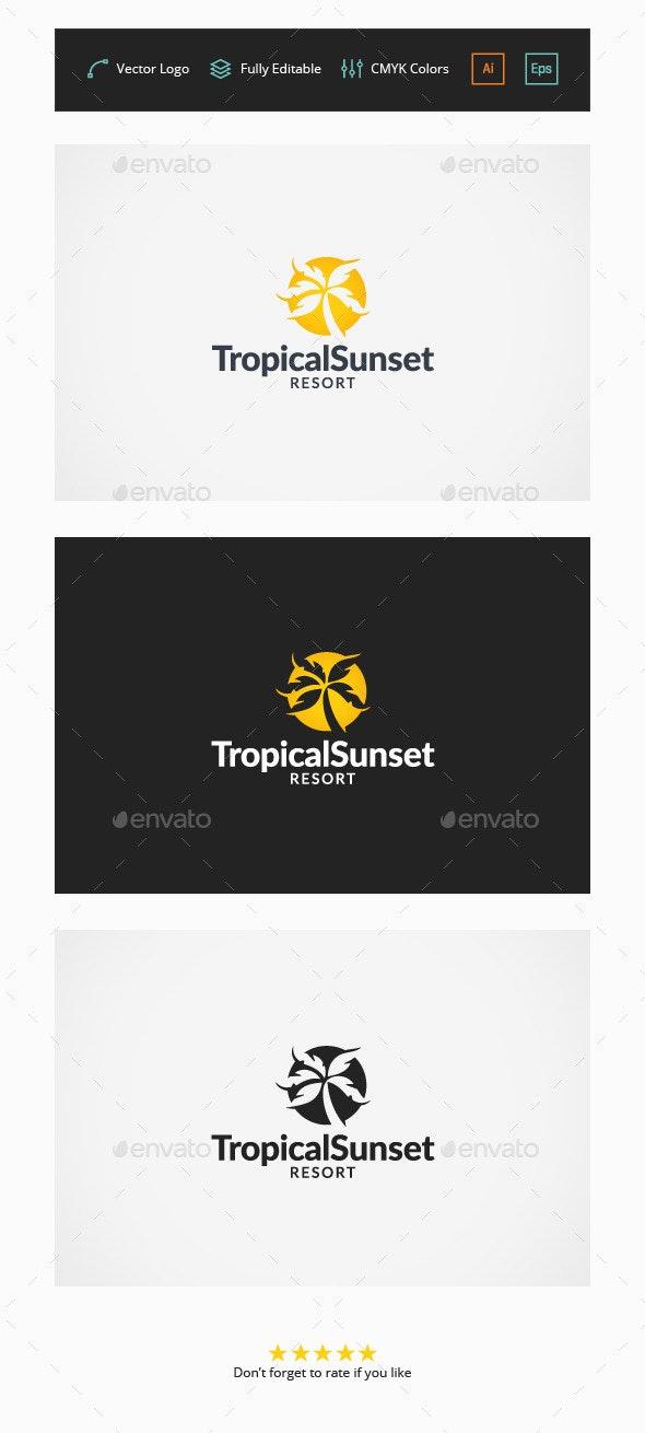 Tropical Sunset Resort Logo - Objects Logo Templates