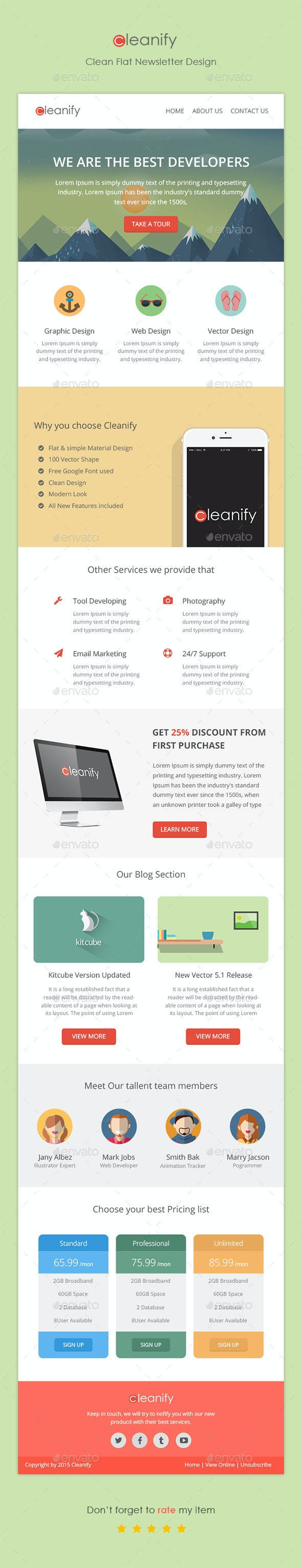 Cleanify Flat Newsletter - E-newsletters Web Elements