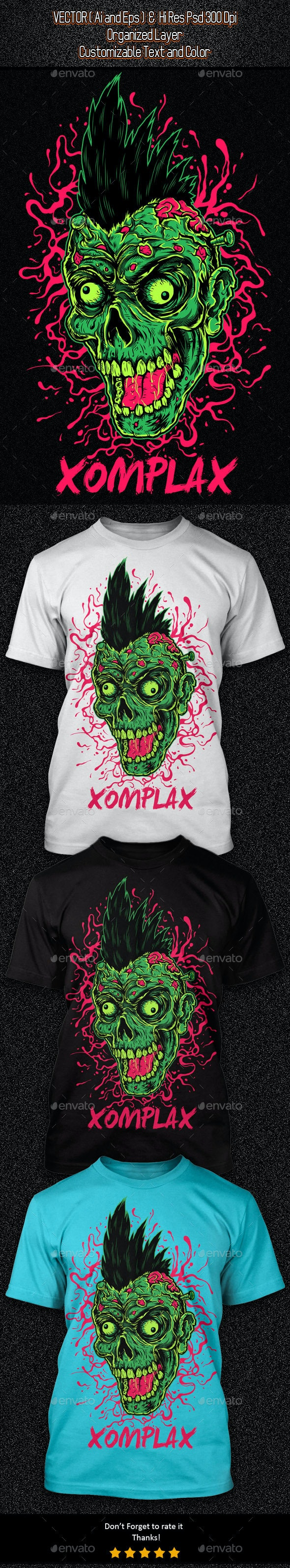 Zombie Punk Illustration - Grunge Designs
