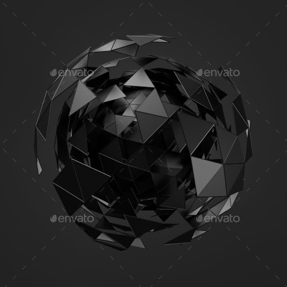 Low Poly Black Sphere With Chaotic Structure