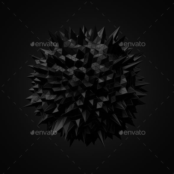 Abstract Black Sphere With Chaotic Structure