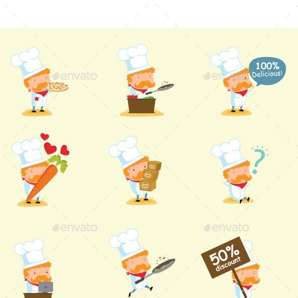 Chef Mascot Set 2