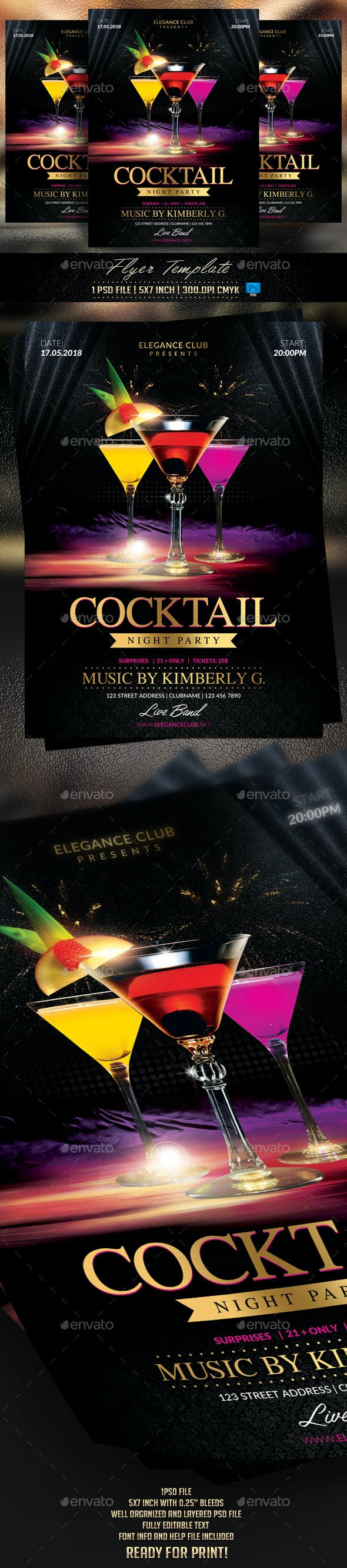 Cocktail Night Party Flyer Template - Flyers Print Templates