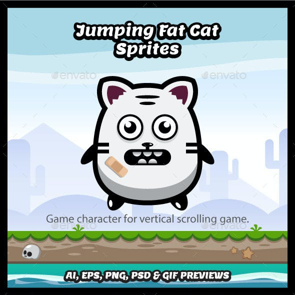 Jumping Fat Cat Game Character Spritesheets
