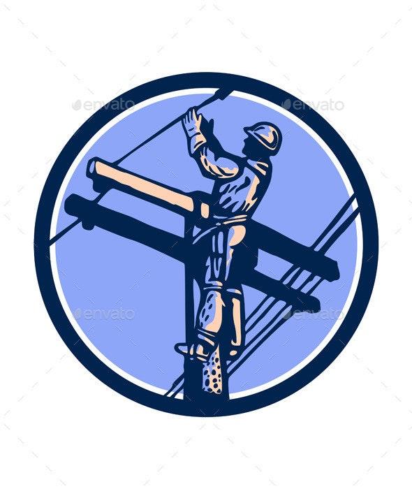 Power Lineman Repairman Climb Pole Retro Circle - People Characters
