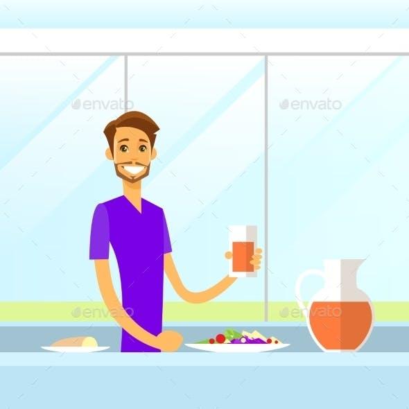 Man Drink Juice Sitting At Kitchen Morning Having
