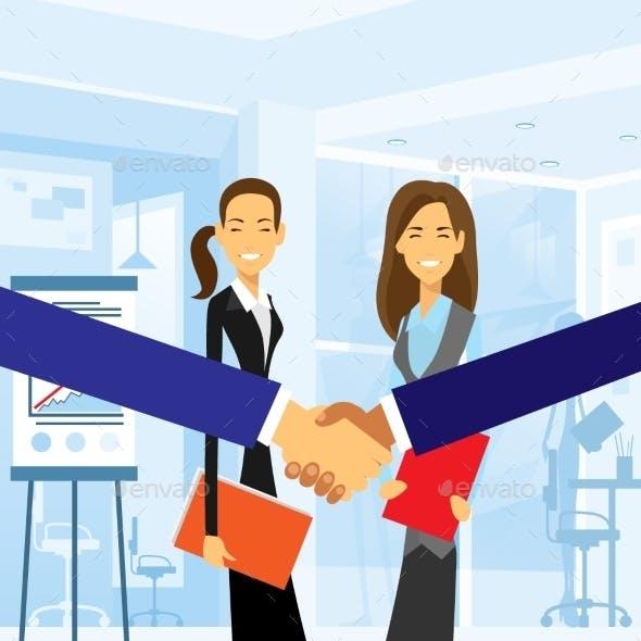 Business Handshake With Women Background