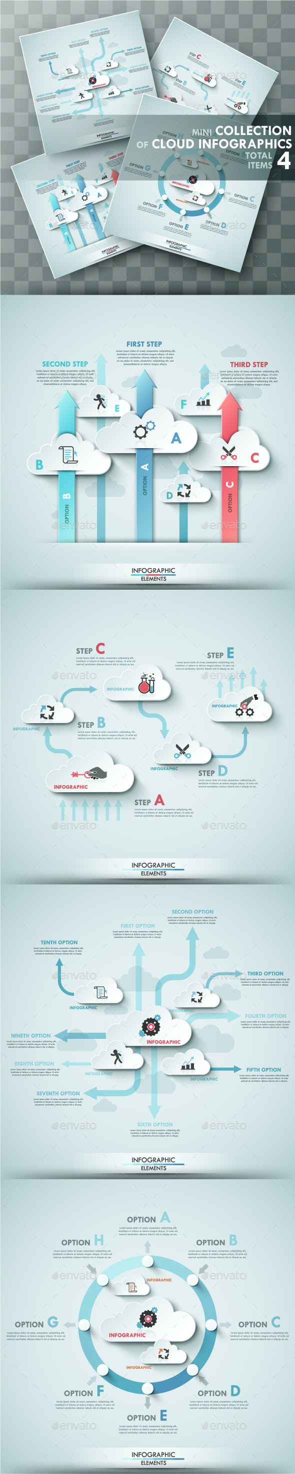Set of 4 Infographic Templates With Clouds - Infographics