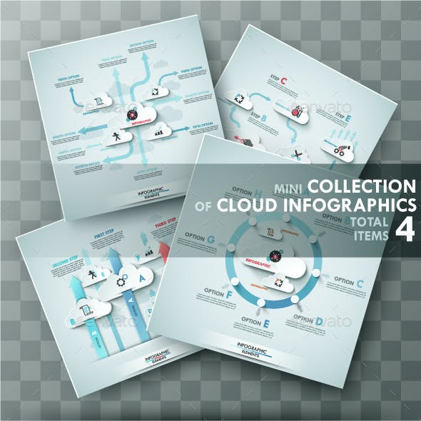Set of 4 Infographic Templates With Clouds