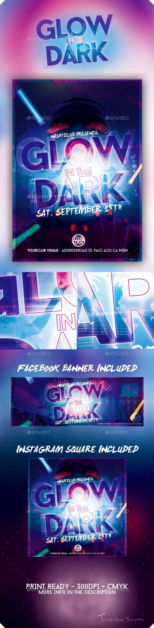 Glow in the Dark Flyer / Poster - Clubs & Parties Events
