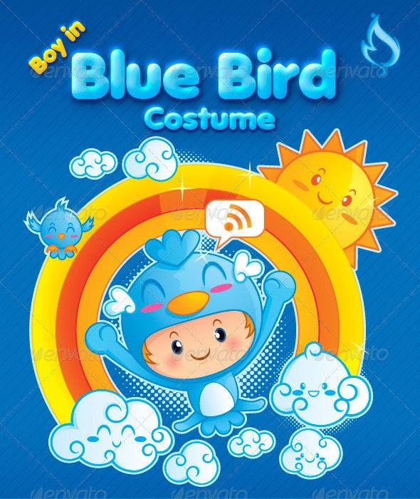 Boy in Blue Bird Costume - Characters Vectors